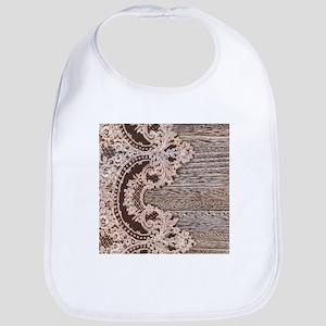 rustic wood lace Bib