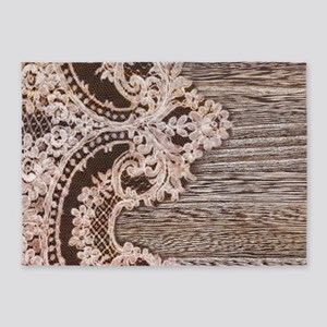 rustic wood lace 5'x7'Area Rug