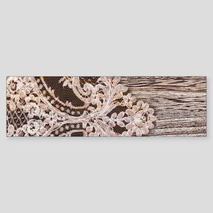 rustic wood lace Bumper Sticker