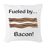Fueled by Bacon Woven Throw Pillow