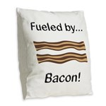 Fueled by Bacon Burlap Throw Pillow