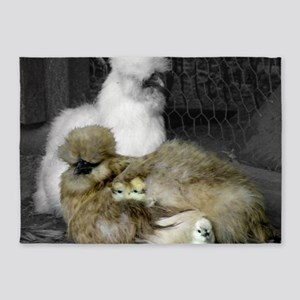 Silkie Chickens with Chicks 5'x7'Area Rug