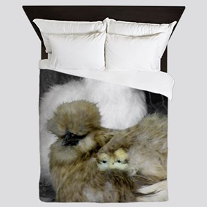 Silkie Chickens with Chicks Queen Duvet