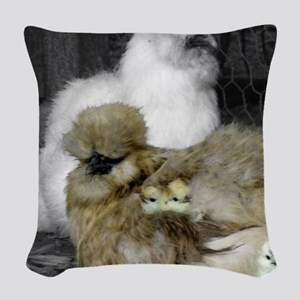 Silkie Chickens with Chicks Woven Throw Pillow