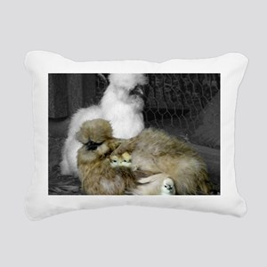 Silkie Chickens with Chi Rectangular Canvas Pillow