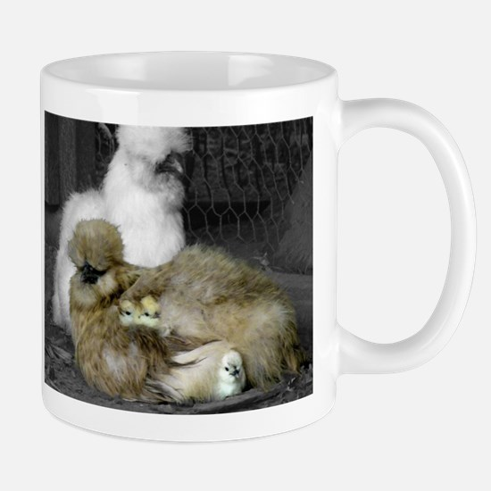 Silkie Chickens with Chicks Mugs