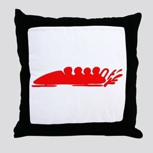 Red Bobsledding Throw Pillow