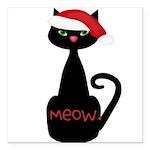 Meow Christmas Cat Black Square Car Magnet 3