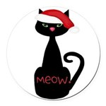 Meow Christmas Cat Black Round Car Magnet
