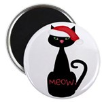 Meow Christmas Cat Black Magnets