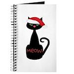 Meow Christmas Cat Black Journal