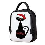 Meow Christmas Cat Black Neoprene Lunch Bag