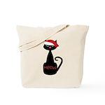 Meow Christmas Cat Black Tote Bag