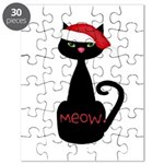 Meow Christmas Cat Black Puzzle