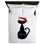 Meow Christmas Cat Black Queen Duvet