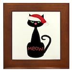 Meow Christmas Cat Black Framed Tile