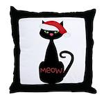 Meow Christmas Cat Black Throw Pillow