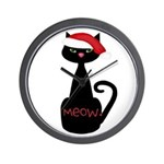 Meow Christmas Cat Black Wall Clock