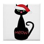 Meow Christmas Cat Black Tile Coaster