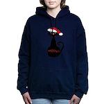 Meow Christmas Cat Black Women's Hooded Sweatshirt