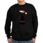 Meow Christmas Cat Black Sweatshirt