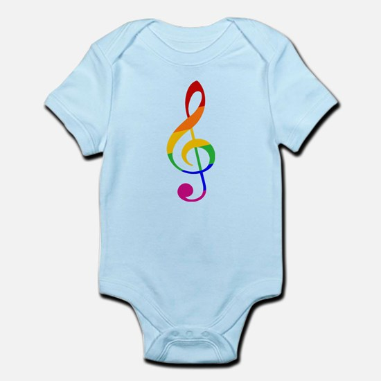 Rainbow Music G Clef Infant Bodysuit