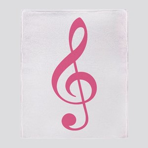 Pink Music G-Clef Throw Blanket