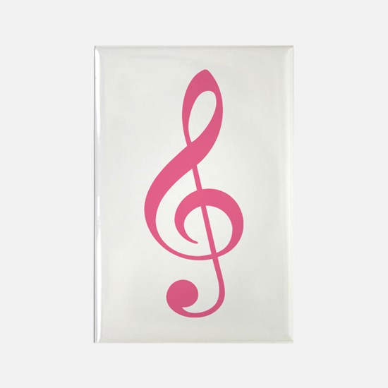 Pink Music G-Clef Rectangle Magnet