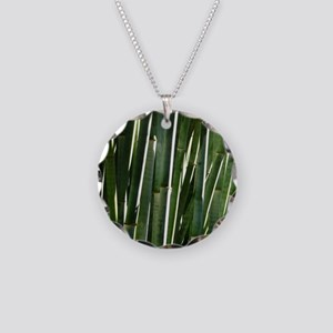 Bamboo Absrtact Necklace Circle Charm