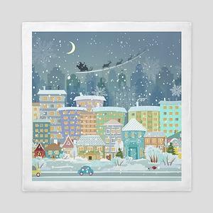 Snowy Urban Christmas Village Queen Duvet
