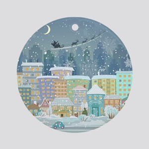 Snowy Urban Christmas Village Ornament (Round)