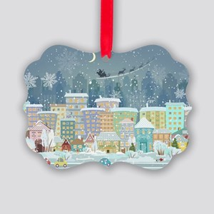 Snowy Urban Christmas Village Picture Ornament
