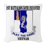 1ST BATTALION 50TH INFANTRY Woven Throw Pillow