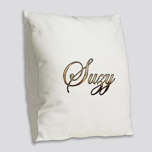 Gold Suzy Burlap Throw Pillow