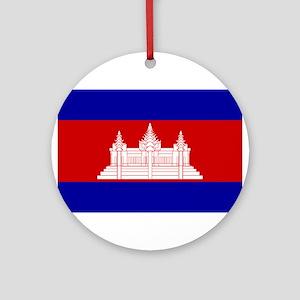 Cambodia Flag Ornament (Round)