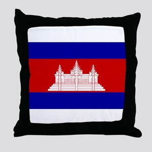 Cambodia Flag Throw Pillow