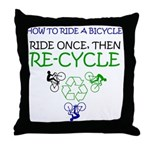 Bicycle Recycle Throw Pillow