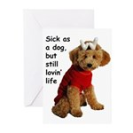 Sick as a Dog Greeting Cards (Pk of 10)