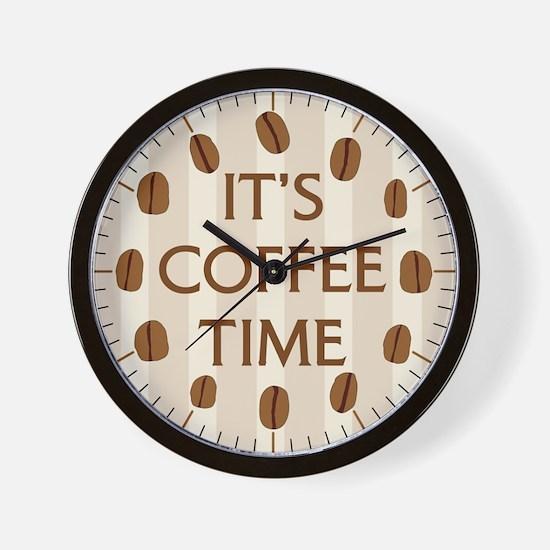 It's Coffee Time (Stripes) Wall Clock