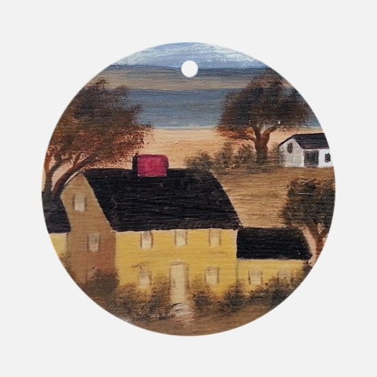Yellow Farmhouse Ornament (Round)
