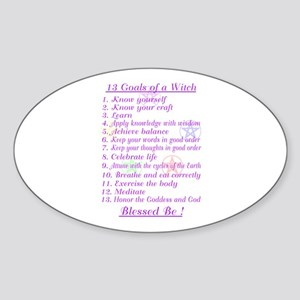 13 Goals of a Witch Oval Sticker
