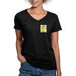 Iacielli Women's V-Neck Dark T-Shirt