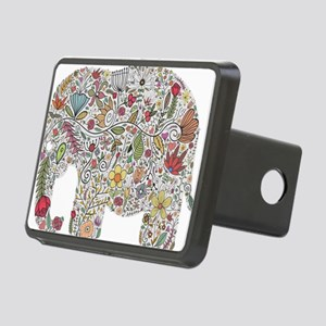 Floral Elephant Silhouette Hitch Cover
