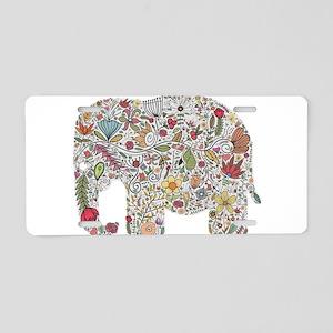 Floral Elephant Silhouette Aluminum License Plate