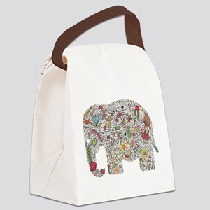 Floral Elephant Silhouette Canvas Lunch Bag