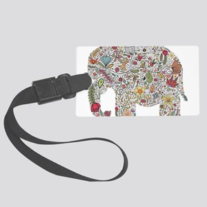 Floral Elephant Silhouette Luggage Tag