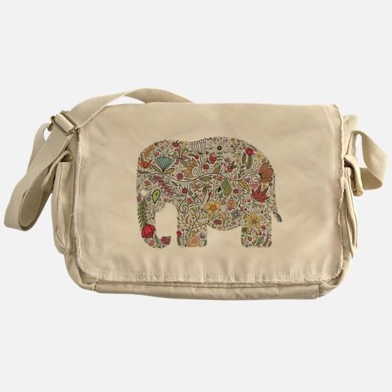 Floral Elephant Silhouette Messenger Bag