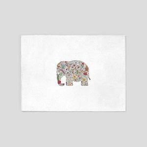 Floral Elephant Silhouette 5'x7'Area Rug