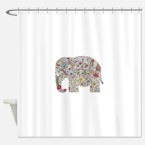 Floral Elephant Silhouette Shower Curtain