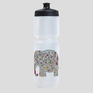 Floral Elephant Silhouette Sports Bottle